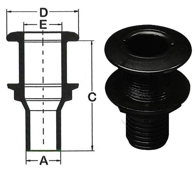 230192 czarny odplyw - Otwór montażowy- 21mm, A- 15mm, C- 89mm, D- 35mm, E- 13mm